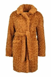 Womens Tall Belted Faux Fur Teddy Coat - beige - 16, Beige