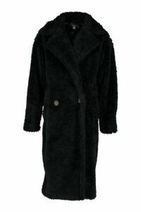 Womens Tall Oversized Faux Fur Teddy Coat - black - 16, Black
