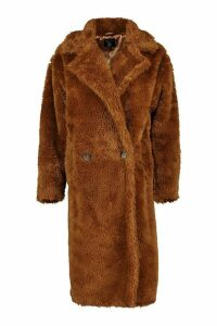 Womens Tall Oversized Faux Fur Teddy Coat - brown - 16, Brown