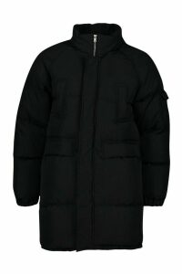 Womens Tall Lined Padded Coat - black - 16, Black