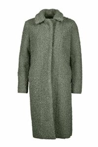 Womens Tall Teddy Faux Fur Coat - green - 16, Green