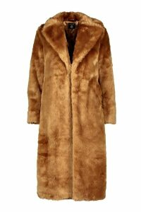 Womens Tall Long Faux Fur Coat - beige - 16, Beige