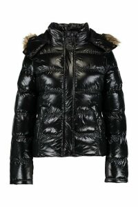 Womens High Shine Hooded Padded Coat With Faux Fur Trim - black - 14, Black