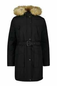 Womens Tall Belted Parka with Faux Fur Trim Hood - black - 16, Black