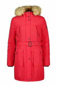 Womens Tall Belted Parka with Faux Fur Trim Hood - red - 12, Red