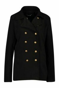 Womens Tall Military Button Wool Look Coat - black - 16, Black