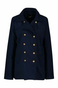 Womens Tall Military Button Wool Look Coat - navy - 14, Navy
