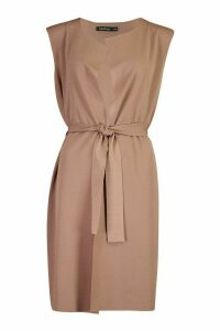 Womens Sleeveless Belted Duster - beige - M/L, Beige