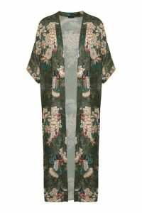 Womens Oriental Floral Print Maxi Kimono - Green - S/M, Green