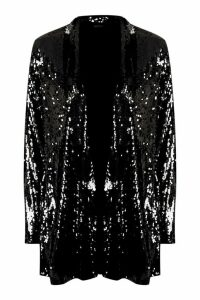Womens Sequin Tailored Blazer - black - 12, Black