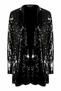 Womens Sequin Tailored Blazer - black - 14, Black