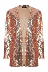Womens Sequin Tailored Blazer - beige - 14, Beige