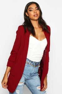 Womens Tall Ruched Sleeve Blazer - red - 16, Red