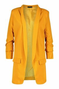 Womens Tall Ruched Sleeve Blazer - yellow - 14, Yellow