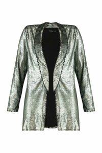 Womens Sequin Tailored Blazer - grey - 14, Grey