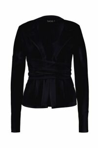 Womens Belted Wrap Blazer - black - 8, Black