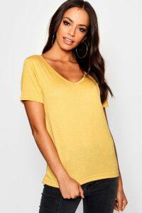 Womens Basic Super Soft V Neck T-Shirt - yellow - 18, Yellow
