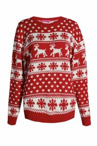 Womens Reindeer & Snowflake Christmas Jumper - red - M/L, Red