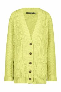 Womens Boyfriend Cardigan - washed lime - M/L, Washed Lime