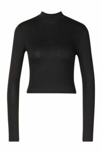 Womens Basic High Neck Long Sleeve Top - black - 16, Black