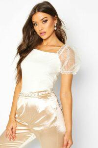 Womens Crepe Square Neck Organza Sleeve Top - white - 10, White