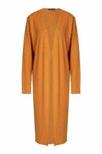 Womens Ribbed Midi Cardigan - orange - 14, Orange