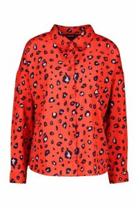 Womens Woven Animal Print Shirt - red - 18, Red