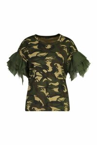 Womens Printed Organza Sleeve T-Shirt - green - M/L, Green