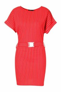 Womens Pinstripe Buckle Detail T-Shirt Dress - red - 14, Red