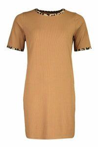 Womens Rib Leopard T-Shirt Dress - beige - 16, Beige