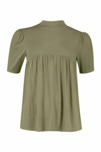 Womens High Neck Swing Smock - green - 8, Green