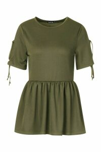 Womens Tie Sleeve Detail Smock Top - green - 10, Green