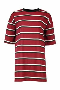 Womens Ringer Striped T-Shirt Dress - red - S, Red