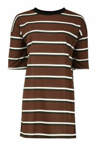 Womens Ringer Striped T-Shirt Dress - brown - M, Brown