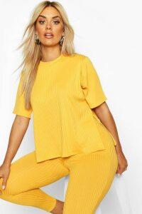 Womens Plus Oversized Side Split Jumbo Rib Tee - yellow - 20, Yellow