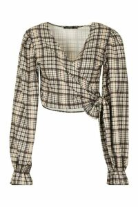 Womens Heritage Check Wrap Over Blouse - brown - 14, Brown