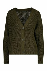 Womens Chunky Knitted Cropped Cardigan - green - M, Green