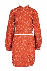 Womens Polka Dot Tie Back Top - orange - 14, Orange