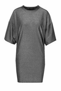 Womens Metallic T-Shirt Dress - metallics - 14, Metallics