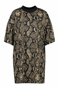 Womens Snake Print T-Shirt Dress - brown - 14, Brown