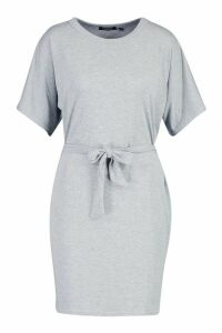 Womens Belted Jersey T-Shirt Dress - grey - 16, Grey