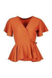 Womens Mini Polka Dot Woven Wrap Top - orange - 12, Orange