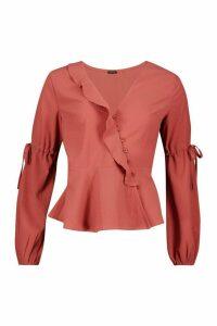 Womens Button Front Tie Detail Tailored Blouse - orange - 8, Orange