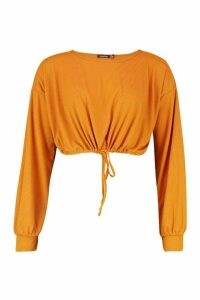 Womens Oversized Soft Rib Waist Tie Top - yellow - 12, Yellow