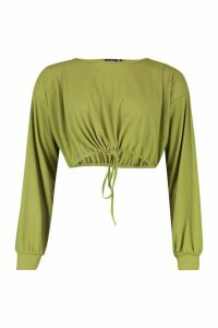 Womens Oversized Soft Rib Waist Tie Top - green - 12, Green