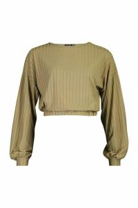 Womens Recycled Rib Balloon Sleeve Top - green - 6, Green