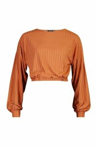 Womens Recycled Rib Balloon Sleeve Top - brown - 6, Brown