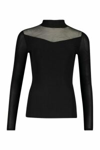 Womens Double Layer Slinky Mesh Insert roll/polo neck - black - 14, Black