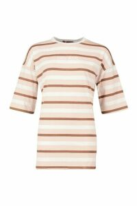 Womens Oversized Striped Embroidered T-Shirt - Beige - 14, Beige