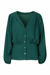 Womens Button Detail V Neck Volume Sleeve Blouse - green - 10, Green
